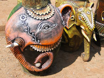 Terra cotta pottery in shape of an elephant Royalty Free Stock Photography