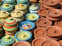 Terra cotta pottery in traditional designs Royalty Free Stock Photo