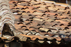 Terra cotta roof tiles. On old building  Sirince,  Turkey Stock Images