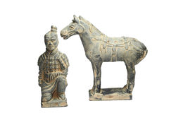 Terra Cotta Warriors con el caballo por China antigua Imagenes de archivo