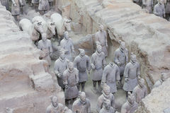 Terra cotta warriors excavation Stock Photography