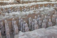 Terra cotta warriors excavation Stock Image