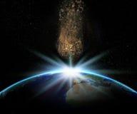 terra 3D com o asteroide enorme aproximadamente a colidir ilustração do vetor
