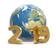terra 3d-illustration do planeta do mundo de 2019 anos Imagens de Stock Royalty Free