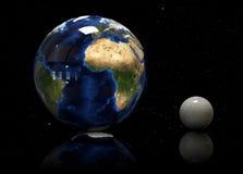 terra 3D, lua e estrela Elementos desta imagem fornecidos pela NASA Imagens de Stock Royalty Free