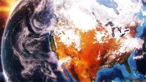 terra 3D na demonstração aérea da luz do dia sobre o fundo do movimento da introdução de America do Norte EUA video estoque