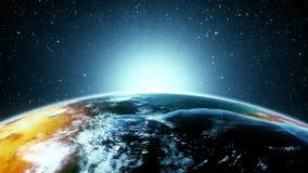 terra 3D nella fine di luce del giorno su con introduzione Logo Background del sol levante stock footage