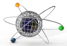 terra 3d no atome em um fundo branco Fotos de Stock Royalty Free