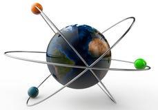 terra 3d no atome em um fundo branco Imagens de Stock Royalty Free