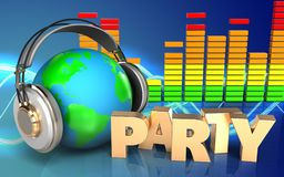terra 3d no espectro do áudio dos fones de ouvido Imagem de Stock Royalty Free