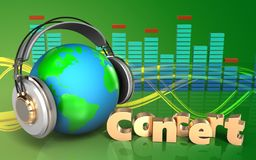 terra 3d no espectro dos fones de ouvido Imagem de Stock Royalty Free