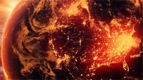 terra 3D in parata aerea della terra di Logo Motion Background Backdrop 3D di introduzione di luce del giorno di notte sopra la t video d archivio