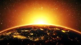 terra 3D pelo fim da noite acima com introdução Logo Background da aumentação Sun video estoque