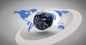terra 3d que gira no fundo azul do mapa ilustração royalty free