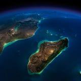 Terra da noite. África e Madagáscar Imagens de Stock