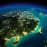 Terra da noite. China oriental e Taiwan ilustração stock
