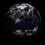 Terra da noite - Europa/Ásia/Afri foto de stock