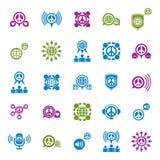 A terra da paz e os ícones incomuns do vetor da sociedade ajustaram-se, símbolos Imagens de Stock Royalty Free