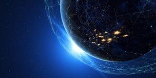 Terra da spazio alla notte con un sistema di comunicazione digitale 3 fotografia stock libera da diritti