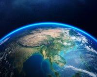 Terra da spazio Asia Fotografia Stock Libera da Diritti