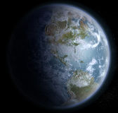 Terra da spazio con il Nord, Centro e Sudamerica Fotografia Stock Libera da Diritti