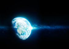 Terra da spazio con la galassia della Via Lattea nel fondo Fotografia Stock Libera da Diritti