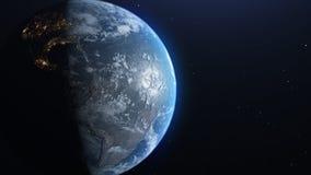 Terra da spazio, concetto del punto di vista dell'astronauta, allontanantesi lentamente con le stelle nello spazio Metraggio 2160 royalty illustrazione gratis