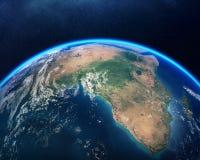 Terra dalla vista dell'Africa dello spazio Fotografia Stock Libera da Diritti