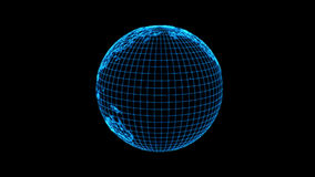 A terra das linhas, estilo futurista do planeta do computador, rendição 3D deu laços com Apha video estoque