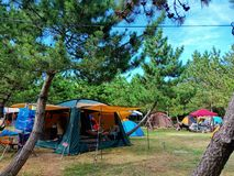 Terra de acampamento perto de Mano Bay na ilha de Sado imagem de stock royalty free