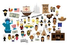 Terra de América do sonho americano com lotes dos elementos ilustração do vetor