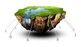 Terra de flutuação Foto de Stock Royalty Free