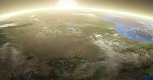 Terra de giro com nascer do sol - America do Norte ilustração do vetor