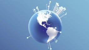 Terra de giro com os pinos da dança que mostram cidades rendição 3d ilustração stock