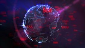 Terra de giro e dígitos de voo - laço do fundo da tecnologia ilustração royalty free