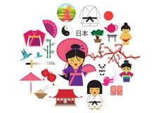 Terra de Japão do país do sol de aumentação no Extremo Oriente ilustração royalty free