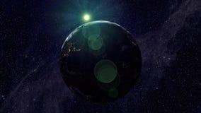 Terra de Palnet com uma cruz da luz ilustração do vetor