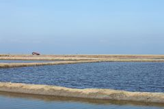 A terra de sal do mar está seca do sol para faz o sal Foto de Stock Royalty Free
