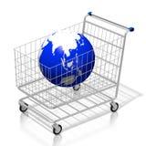 terra del carrello di acquisto 3D - concetto online di acquisto illustrazione vettoriale