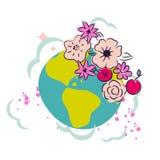 Terra del fumetto con il vettore di clipart della decorazione della corona del fiore Fotografia Stock