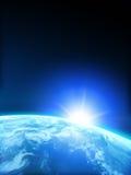 Terra del pianeta con il sol levante Fotografia Stock Libera da Diritti
