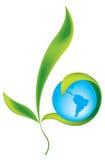 Terra del pianeta con le piante Fotografia Stock