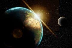 Terra del pianeta nello spazio cosmico Immagine Stock