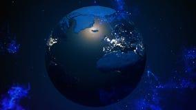 Terra del pianeta nello spazio cosmico Galassia, Via Lattea e nebulosa illustrazione vettoriale