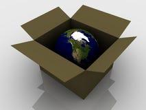 Terra del pianeta in una casella Immagine Stock