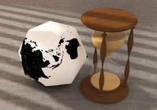 Terra del poligono con l'orologio Immagini Stock Libere da Diritti