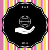 Terra della holding della mano Protegga l'icona Immagine Stock Libera da Diritti