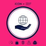 Terra della holding della mano Protegga l'icona Immagini Stock Libere da Diritti