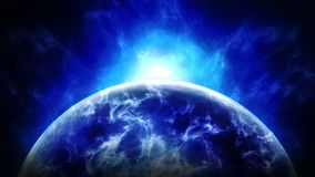 Terra della nuvola nello spazio Simbolo di affari Terra con il mare ed atmosfera alla luce solare Animazione del ciclo illustrazione vettoriale
