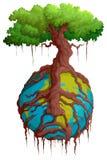 Terra della tenuta della radice dell'albero royalty illustrazione gratis